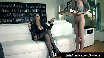 FemDom Milf Julia Ann Orders Leashed Boy Toy To Eat Her Out! 8 min