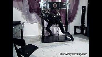 Nasty slut in latex cloth massage her