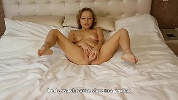 Amazing amateur pornstar masturbates and fucks herself by dildo on the bed