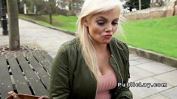 Busty British hottie bangs in public 7 min