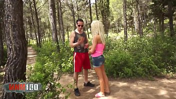 Hot blonde with big pussy fucked hard by big cock in the woods thumbnail