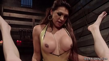 Rubber transsexual Busty shemale whips and anal bangs dude