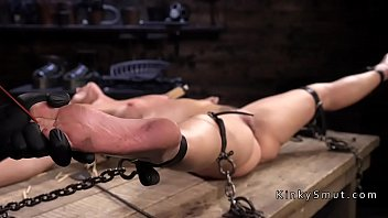 Hard nipples fucking Collared blonde pussy vibed in dungeon