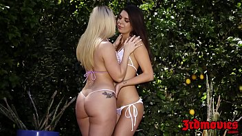 Lesbian sex in a pool Sensual dykes licking pussy at a private outdoor pool