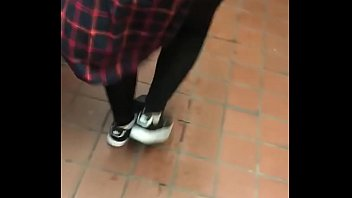 Wife In See Thr ough Leggings Walking With Vis alking With Visible Panties
