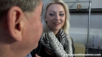 Platinum blonde cutie Katy Rose take an old prick