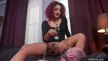 Redhead ebony pegging muscled man slave
