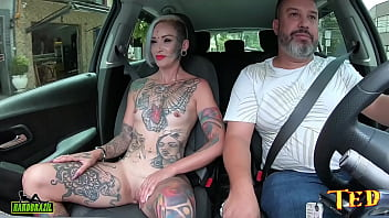 The milf with the famous eye eyeball tattoo took off all her clothes in the car and tells how she got into the porn world - Ted's ride #75 - Tata Lima