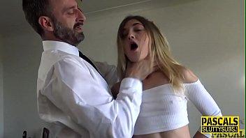 Fetish submissive gets spitroasted