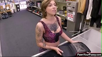 Hot tattoo artist gets banged in the pawnshop