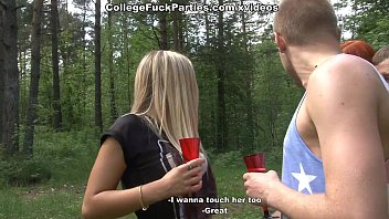 Filthy college sluts turn an outdoor party into wild fuck fest scene 3