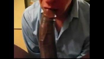Gay black guy sucking white cock - Eating black cum