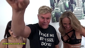 Director's Cut of Rimjob Squirt Fest Two Pretty Babes Fuck Funny Fat Man– Immoral Live 12 min