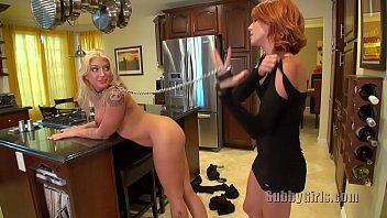 redhead trains blonde pet