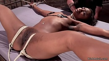 Ebony bdsm slave sluts Stunning ebony slut in grueling bondage