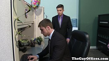 Top gay office suit sock video Gay office twink works on his sucking skills