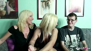 Virgin Boy Fuck by two German MILF to his 18 Birthday in FFM 16 min