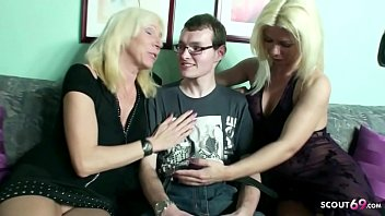 Virgin Boy Fuck by two German MILF to his 18 Birthday in FFM