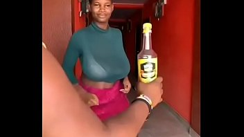GHANA GIRL OPENS A BOTTLED d. WITH HER BREASTS