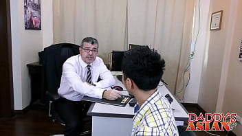 Daddy sucking and fucking two asian twinks in the office