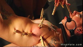 Tattooed gagged babe in bdsm hard flogged and pussy machine fucked image