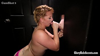 Chubby blonde gloryhole cock sucker