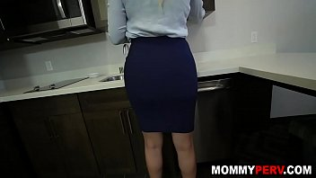 Step mom takes care of my cock before going to office