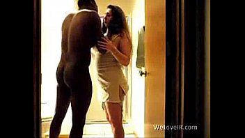 black dude gets his girlfriend in the bathroom