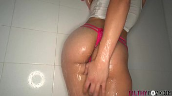 Hot Latina Gabriella Sucks My Big Cock in the Shower.