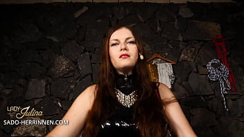 Become Lady Jul ina&rsquos latex slave and str x slave and strapon sucker
