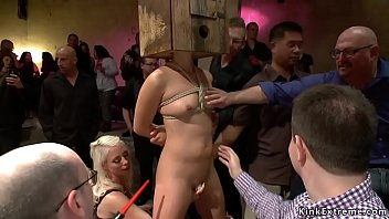 Boxed head slave is zappered in public