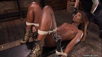 Stunning ebony slave brutal anal banged