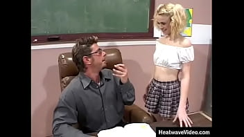The teacher thinks his schoolgirl is hot and wants to fucks her on the table in classroom
