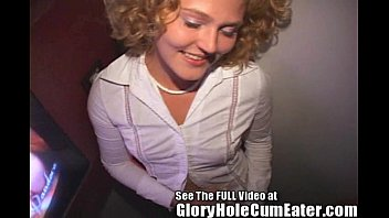Gloryhole couple - Short blonde spinner sucking strangers cocks