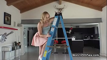 Deep close up anal with girlfriend on ladder