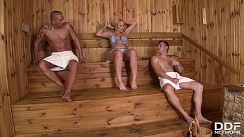 Hot sauna sex makes busty Milf Angel Wicky wank, suck & fuck two big cocks 13 min
