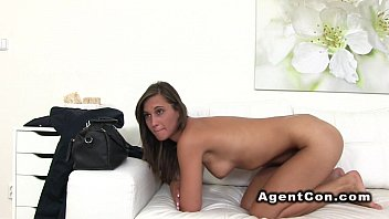 Fake agent bangs tall brunette beauty