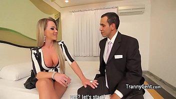 Guy bangs tranny in red lingerie 6 min
