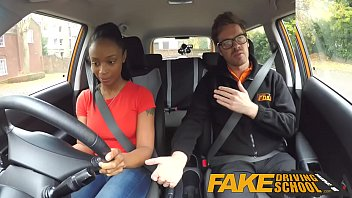 Teen drive in - Fake driving school ebony learner with big tits is worst driver yet