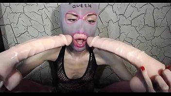 Webcam Dildo Deepthroat Gagging Queen - Masked Blowjob Queen Doing Double Dildo Deepthroat - watch more on Amateur-Cam-Girls.com