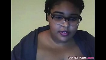 Ebony BBW Masturbating Her Pink Pussy in Front of Webcam