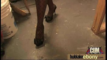 Ebony Cum Slut Hottie Bukkake Party 24