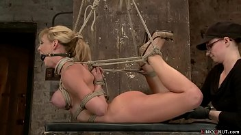 Hogtied MILF oiled and anal fucked