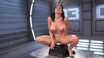 Big tits slut fucks big dick machine