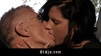 Horny old man bangs with cute brunette babe