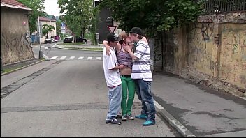 Gorgeous y. girl Alexis Crystal is fucked in PUBLIC street by 2 teens
