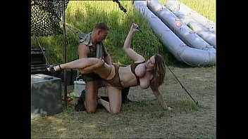 Busty girl mistreated and fucked by soldier
