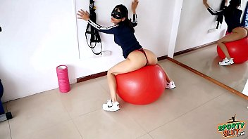 Amazing Body Brunette Exersicing on her Fitball preview image