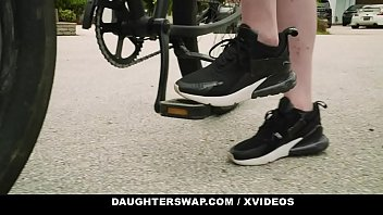 DaughterSwap -  Fathers Teaching Daughters (Val Steele) (Jessae Rosae) to Ride a Bike Turns into a Sex Orgy 12 min