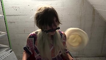 Blonde haired teen grabbed on her way to a costume party and bound , gagged